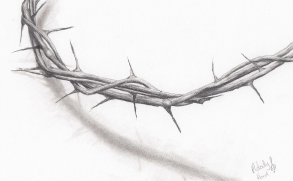 Pencil drawing of a crown of thorns
